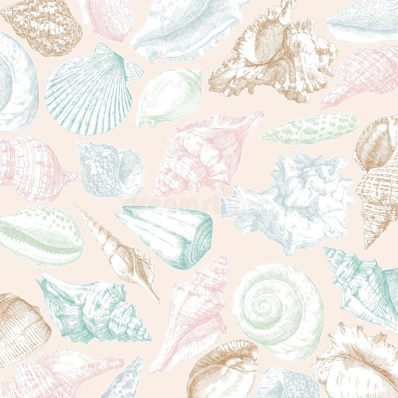 seashells del blocco per grafici della priorità bassa buoni illustrazione vettoriale
