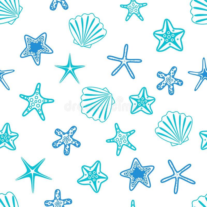 seashells deseniowe bezszwowe rozgwiazdy Morski tło również zwrócić corel ilustracji wektora royalty ilustracja