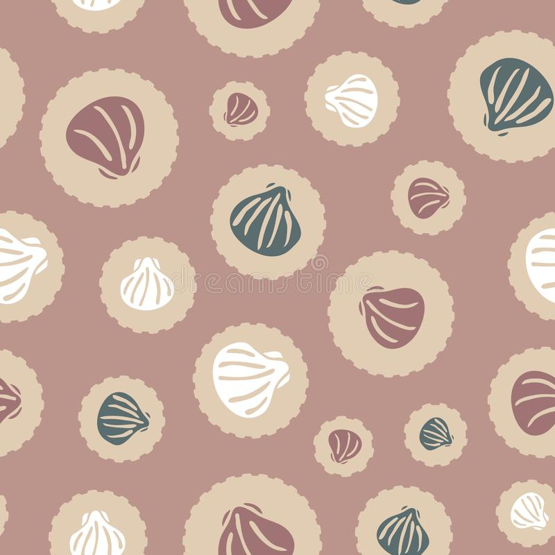 Seashells on dots vector seamless pattern in autumn colors for fabric, wallpaper, packaging, scrapbooking projects or backgrounds royalty free illustration