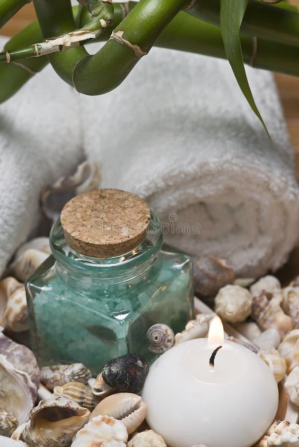 Seashells e sali di bagno. fotografia stock libera da diritti