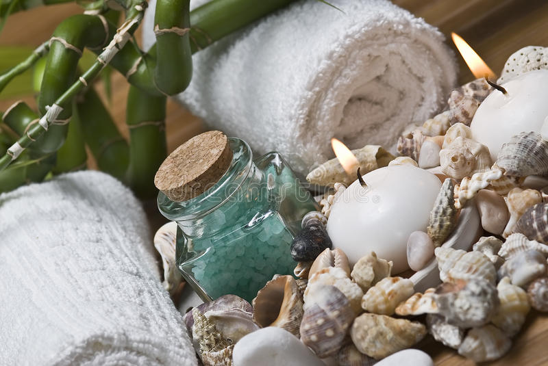 Download Seashells And Hygiene Items. Stock Photo - Image: 16728160