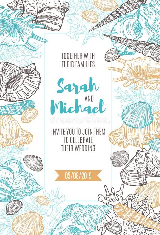 Seashells i koral rama na ślubnym zaproszeniu royalty ilustracja
