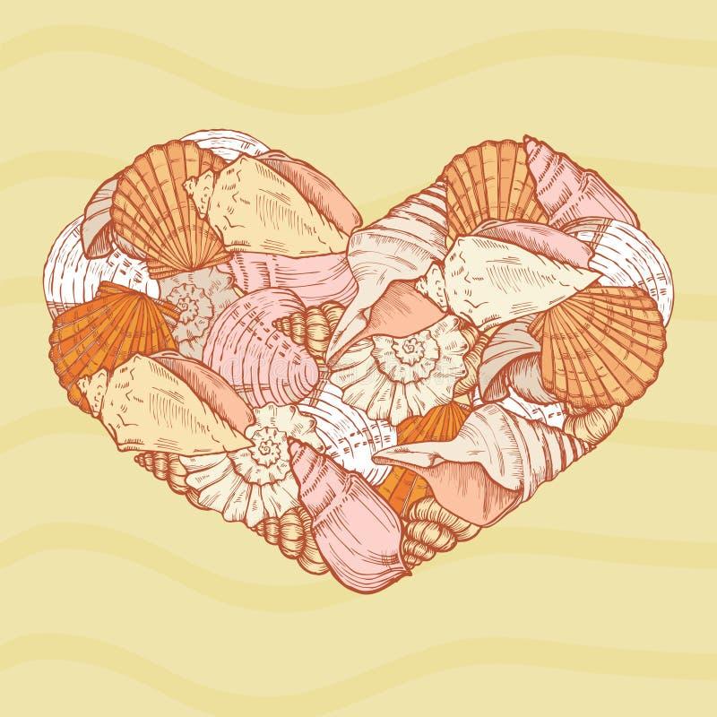 Seashells kształt serce ilustracji