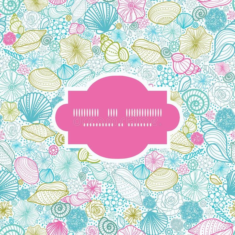Seashells Line Art Seamless Frame Pattern Stock Photo