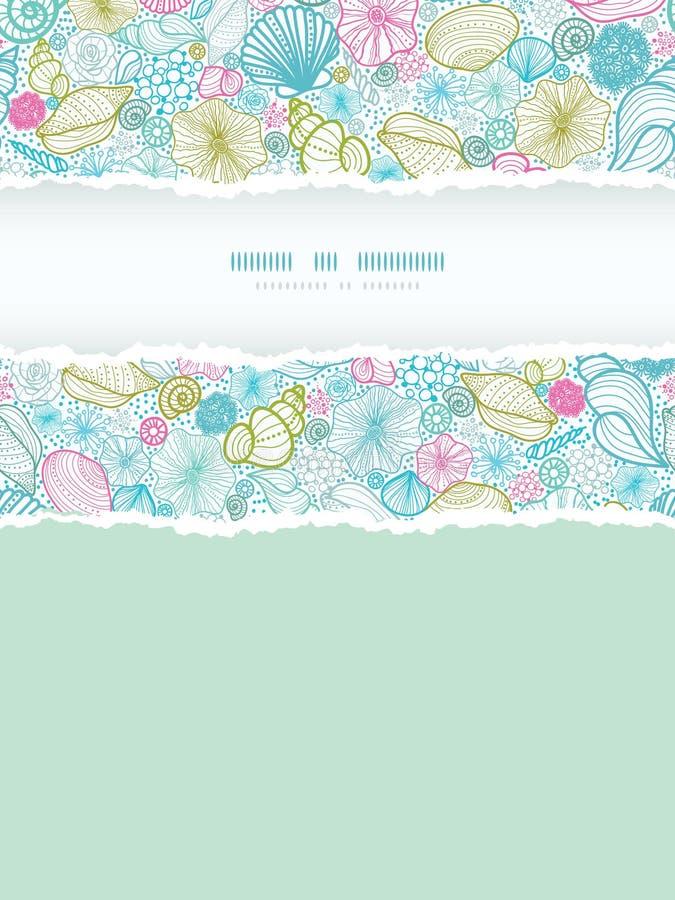 Seashells line art vertical torn frame seamless royalty free illustration
