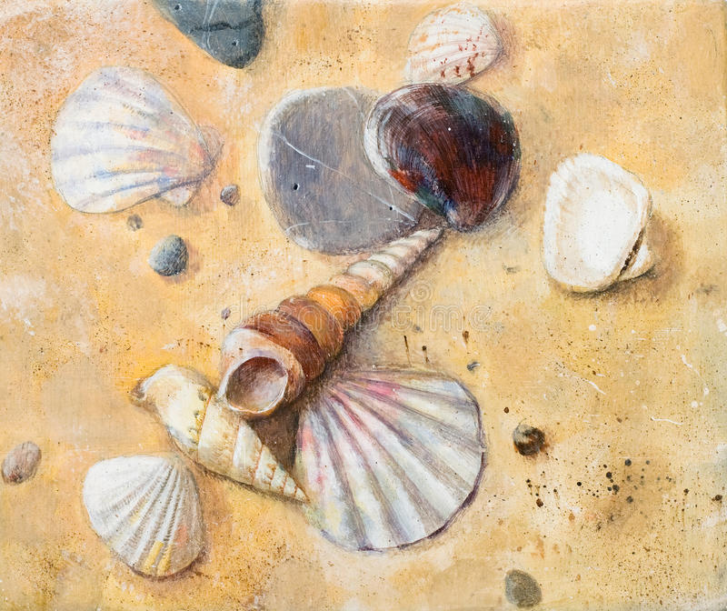 Download Seashells on the sand stock illustration. Illustration of yellow - 17387155