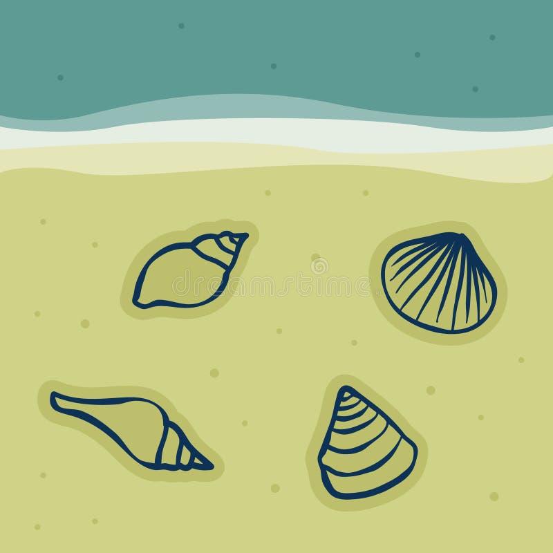 Seashells in the sand stock illustration