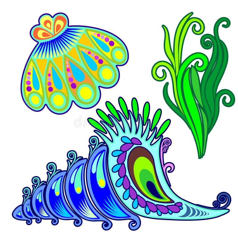 Download SeaShells And Seaweed Decorative Elements Stock Vector - Illustration of greenalgae, algae: 88937761