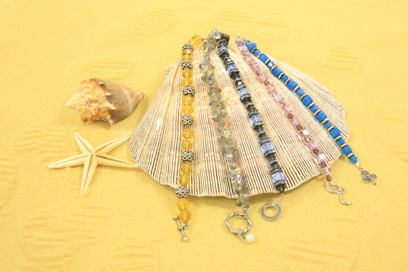 Seashells, Starfish & jóia fotos de stock
