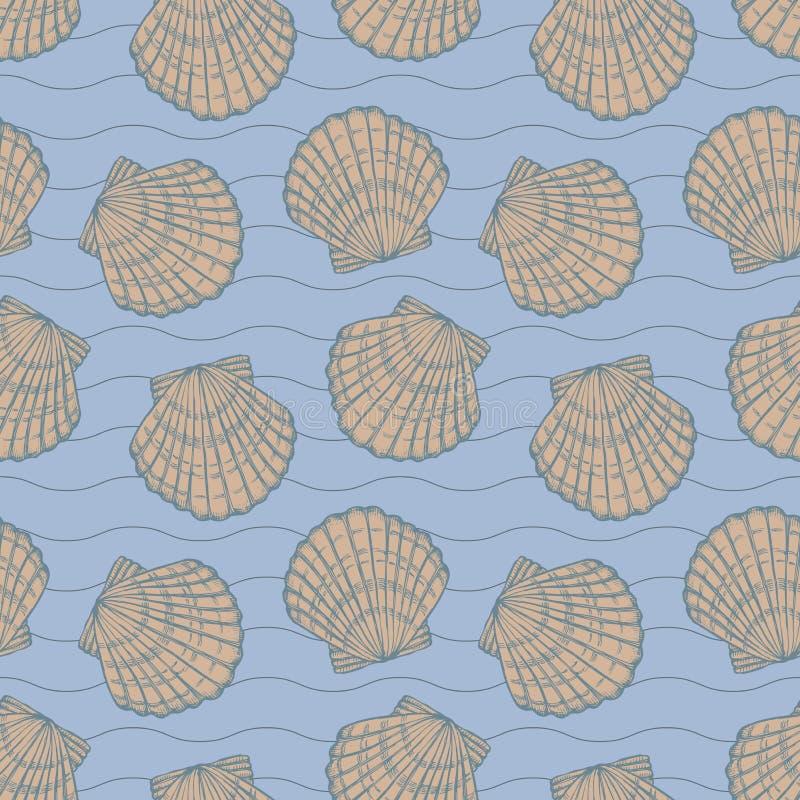 Seashells and stripes on blue background seamless stock illustration