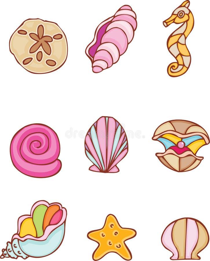 seashells ustawiający ilustracja wektor