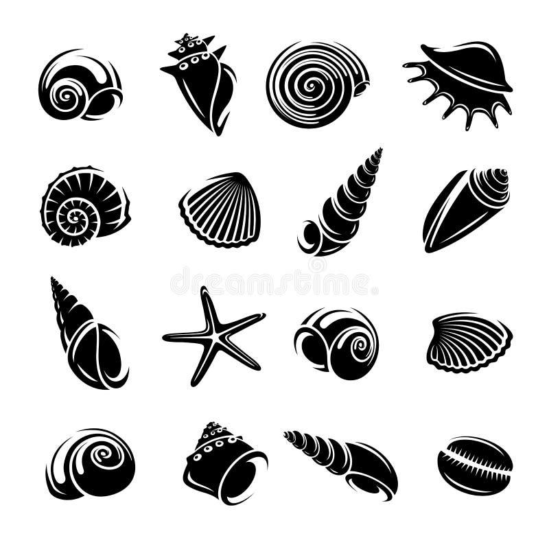 seashells ustawiający wektor royalty ilustracja