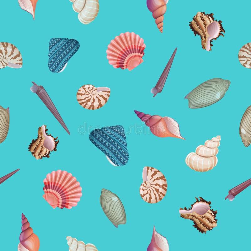 Seashells wektoru bezszwowy wzór royalty ilustracja