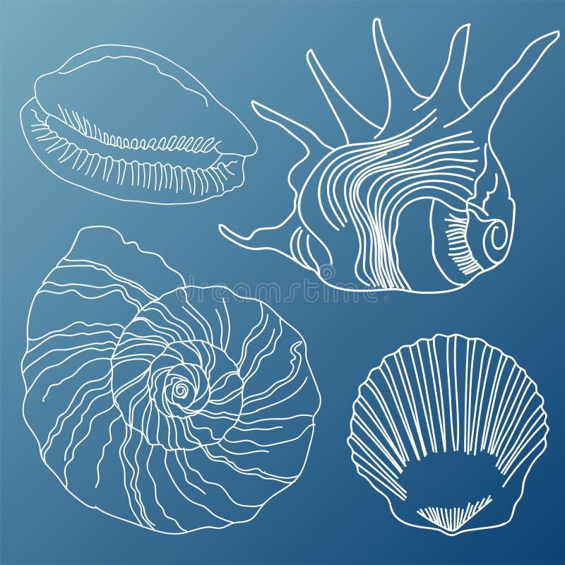 Seashells wektoru set royalty ilustracja