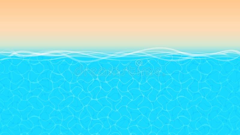 Seashore пляжа океана взгляда сверху для предпосылки, тропического ландшафта с голубым океаном и взгляда сверху песка золота, кра иллюстрация вектора
