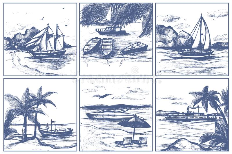 Seashore beach with palm trees sailing boats on horizon vector sketch hand drawn doodle style ships on sea illustration. vector illustration