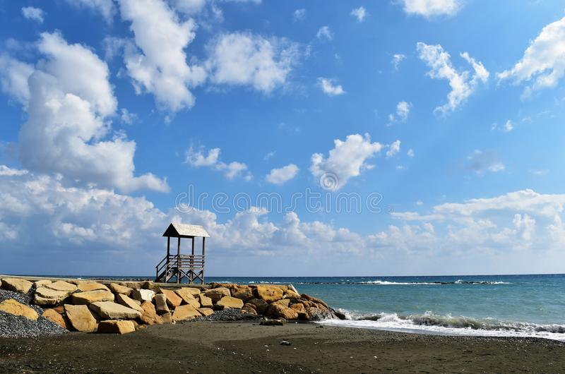 Seashore and Beautiful Blue Sky royalty free stock photos