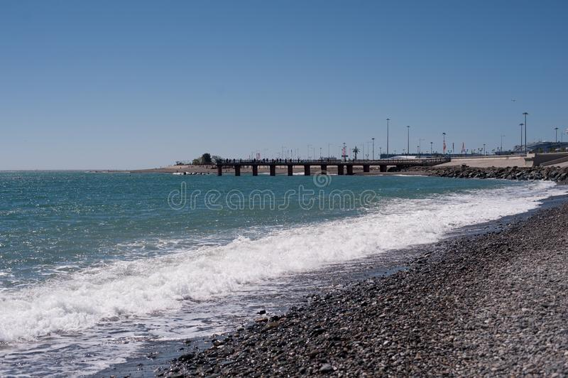 Seashore with blue sky stock image