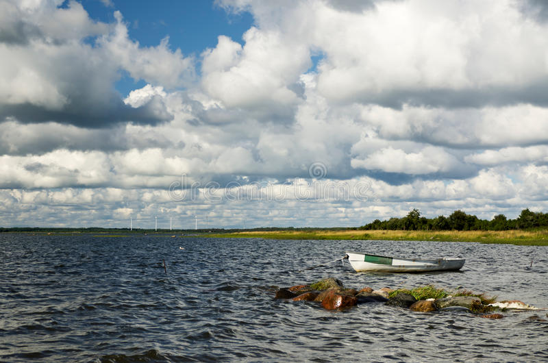 Seashore With A Boat Stock Image