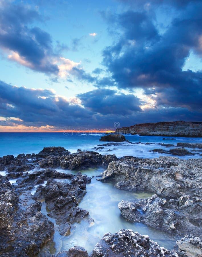 Seashore And Dark Sky Stock Image