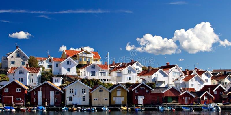 Seashore houses stock photos