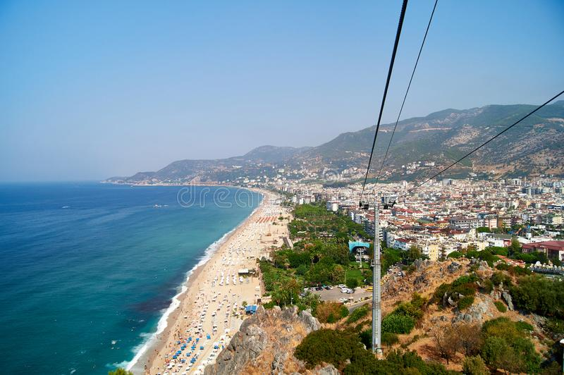 The seashore on the Kleopatra beach. Turkey, Alanya. Relaxing Holiday by the sea royalty free stock images