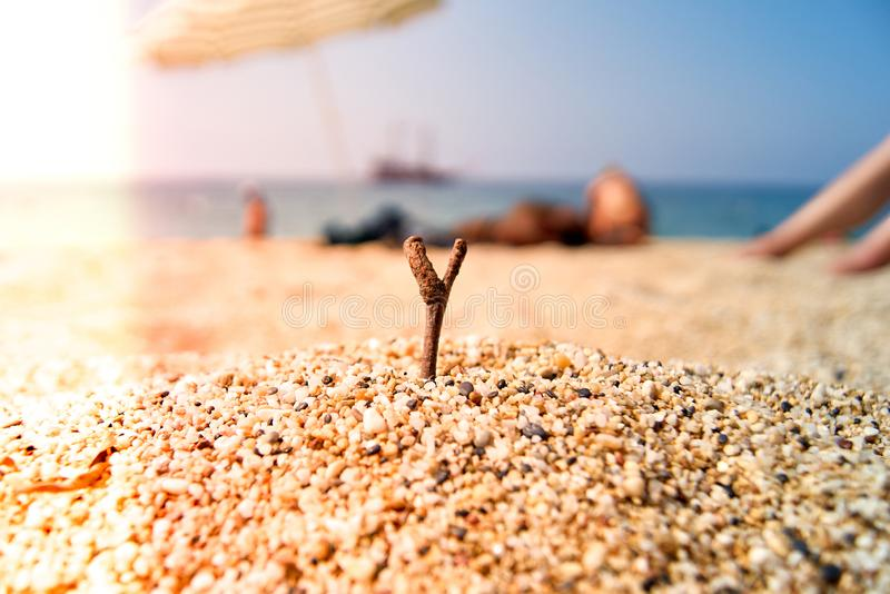 The seashore on the Kleopatra beach. Turkey, Alanya. Relaxing Holiday by the sea royalty free stock photography