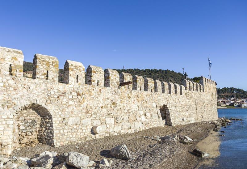 Seashore fortress of Nafpaktos, Greece. Seashore medieval fortress of Nafpaktos on the morning, Greece royalty free stock image
