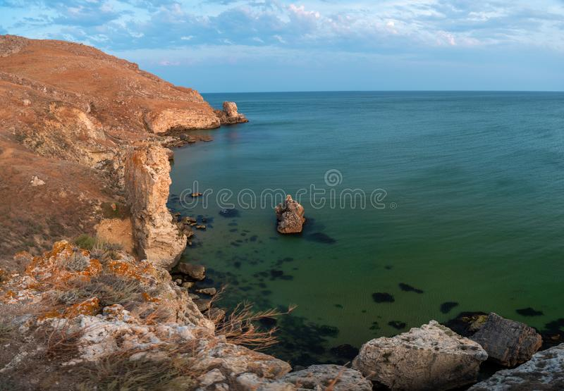 Seashore rock on the Black Sea in Crimea stock photo
