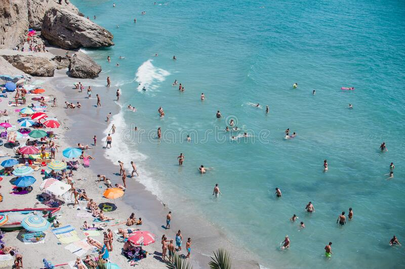 Seashore with sandy beach royalty free stock photos