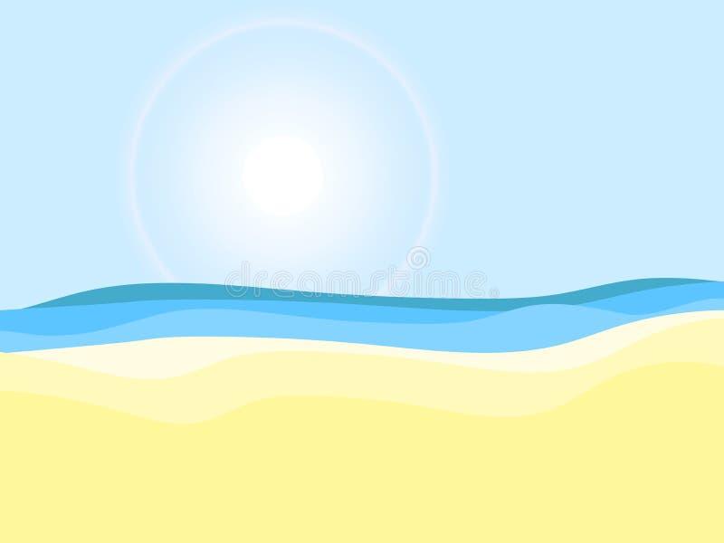 seashore Solig dag strandlandskap Semester för sommarferie vektor stock illustrationer