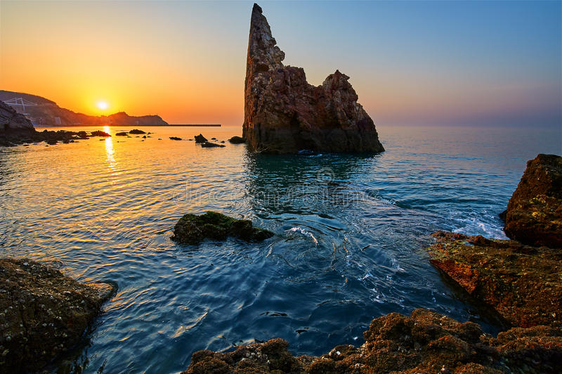 The seashore sunrise scenery. The photo was taken in Dalina city Liaoning province, China royalty free stock image