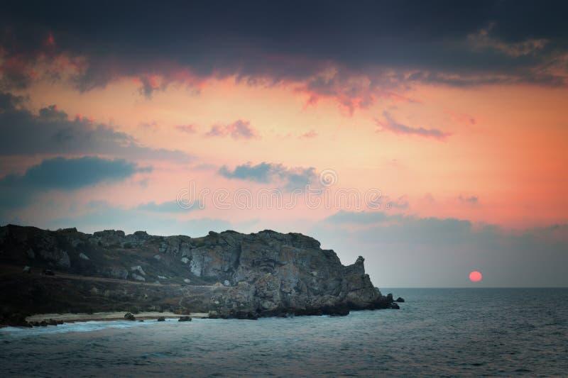 Seashore at sunset. The Seascape. Seashore at sunset royalty free stock photography