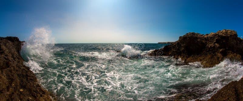 Seashore and surge splash. Beauty nature sea landscape Crimea, horizontal photo royalty free stock images