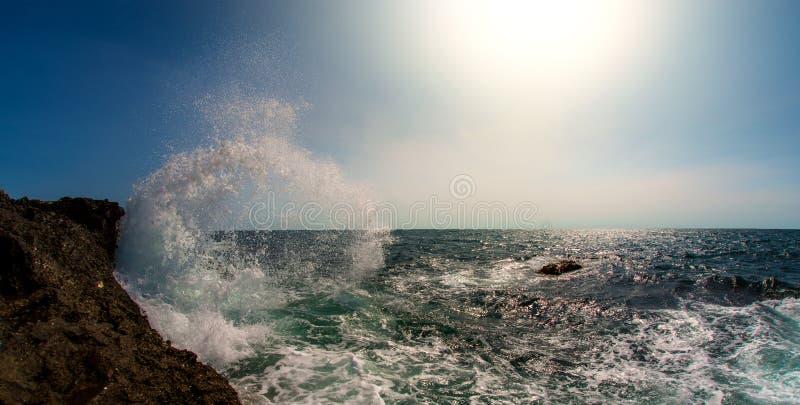 Seashore and surge splash. Beauty nature sea landscape, horizontal photo stock photo