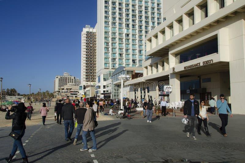 Seashore in Tel-Aviv in winter sunny day royalty free stock photos
