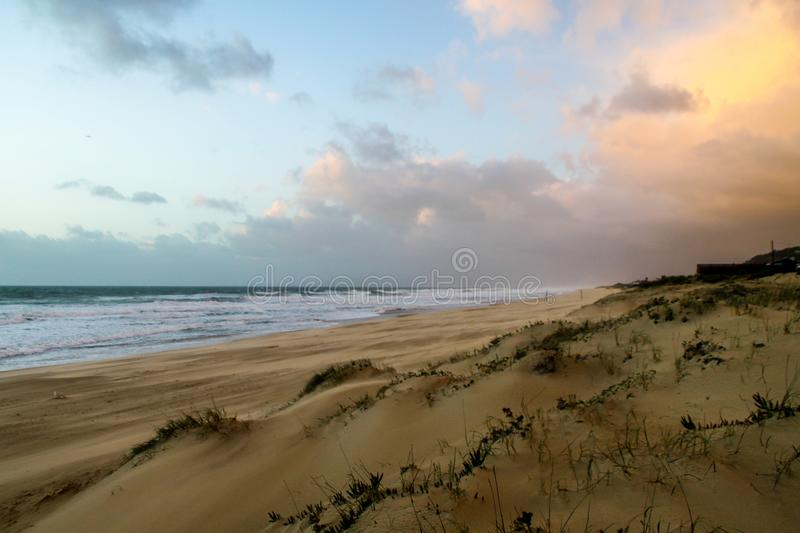 Seashore Under Blue Sky and White Clouds View stock photos