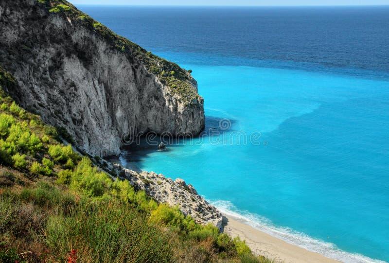 White Sandy Beach Lefkada Island Coast royalty free stock images