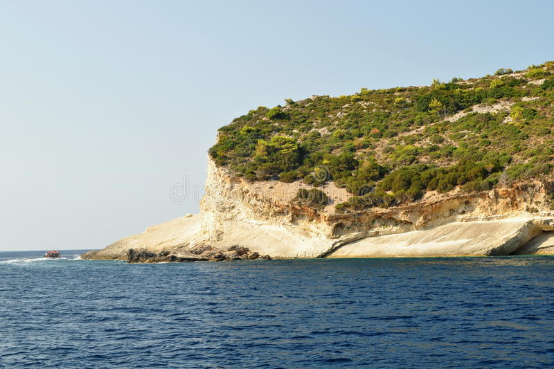 Seaside. Sea coasts with steep cliffs and beautiful. Zakhyntos Island - Greece stock photo