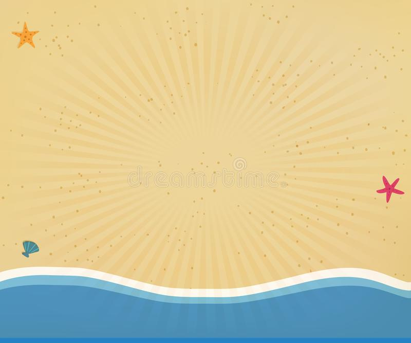 Seaside background or border frame with radiant sun rays. Top view of golden sandy beach with yellow sand, shells and starfish in flat icon design. Seaside royalty free illustration