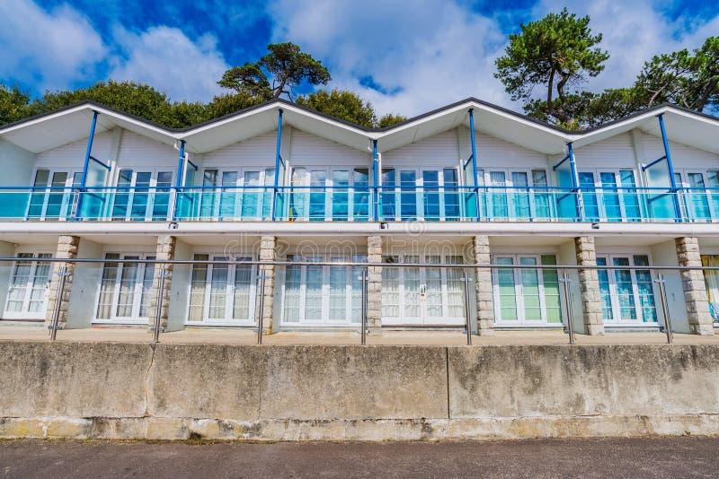 Seaside beach huts. In England stock image