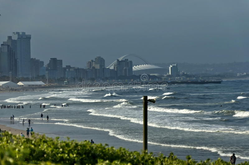 Seaside beach by uShaka in Durban city. South Africa royalty free stock photography
