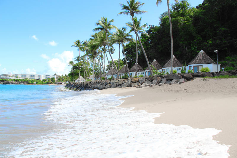 Seaside bungalows, Guadeloupe royalty free stock photography