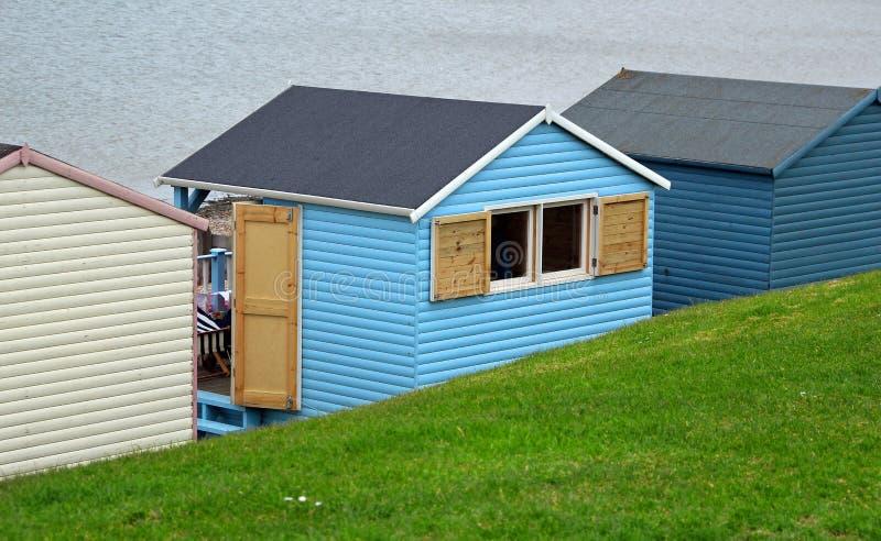 Seaside chalet beach hut royalty free stock photography