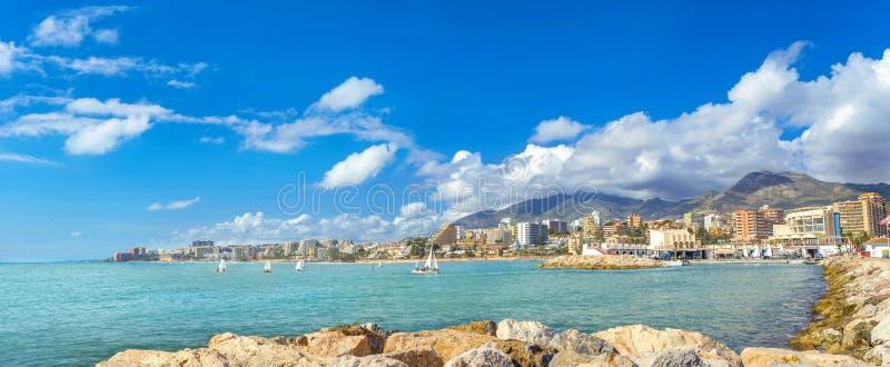 Seaside of coastal Benalmadena town. Malaga province, Andalusia, Spain. Panoramic view of seaside Benalmadena town. Malaga province, Andalusia, Spain stock photos
