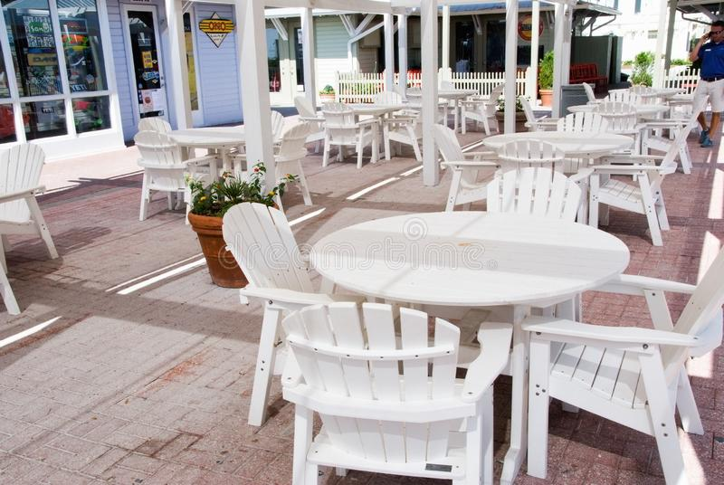 Outdoor Restaurant Patio Area in Seaside Florida USA stock photography