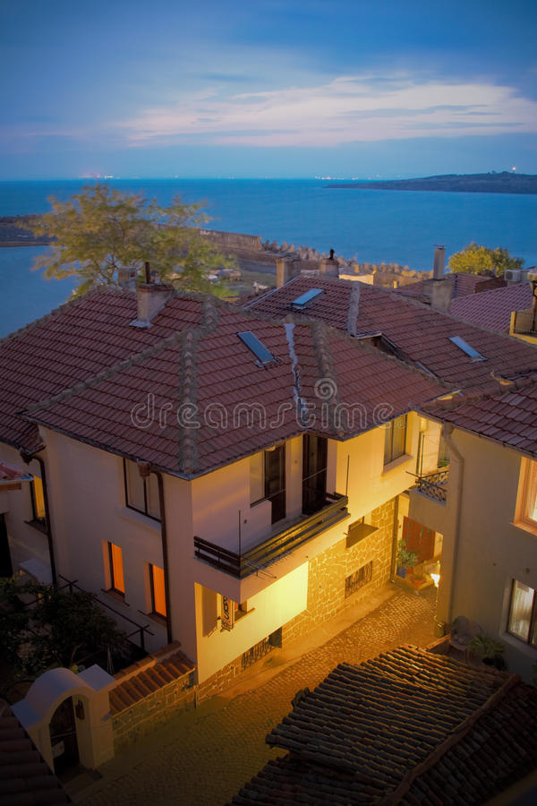 Download Seaside Houses In Sozopol, Bulgaria, At Night Stock Image - Image: 13033947