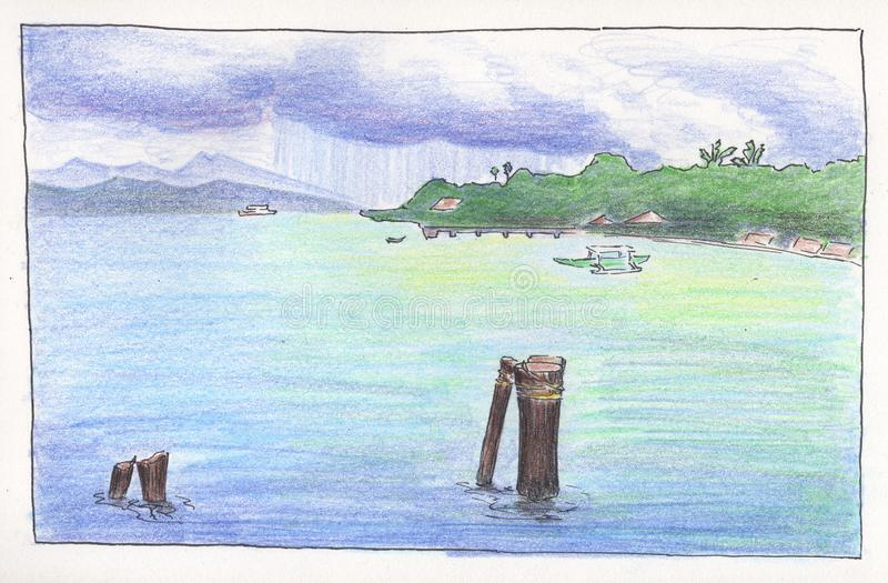 Seaside and lagoon under storm cloud. Handdrawn illustration seaview. Marine travel landscape pencil sketch. Summer holiday drawing. Travel sketch of asian royalty free illustration