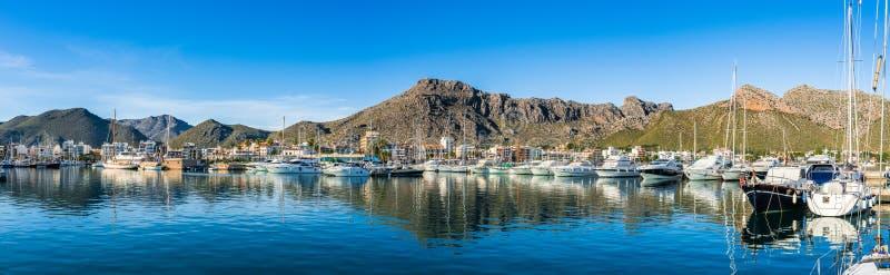 Seaside landscape panorama of Port de Pollenca marina harbor on Majorca island, Spain royalty free stock images