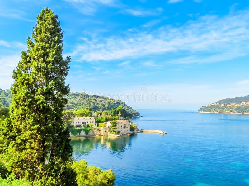 Seaside of the Mediterranean Sea. Landscape of the Cote d`Azur, Villefranche-sur-Mer, France stock photo